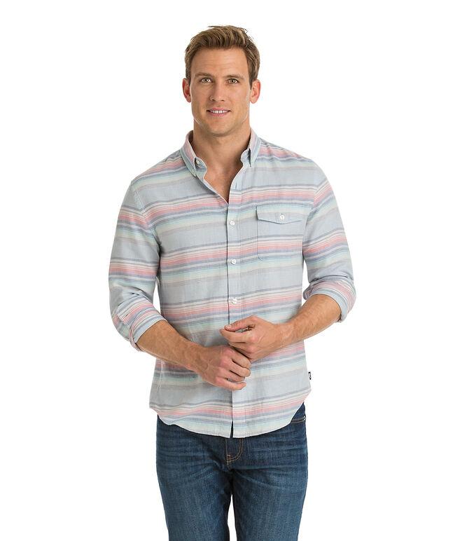 Sunset Lake Stripe Slim Crosby Shirt