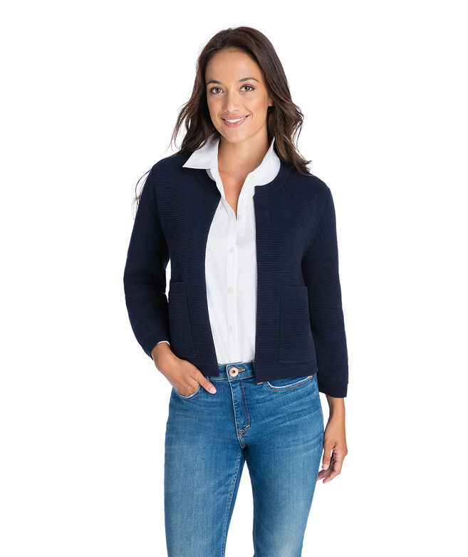 Ribbed Open Cardigan