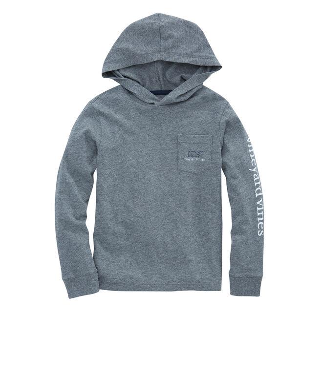 Boys Long-Sleeve Two Tone Whale Hoodie Pocket T-Shirt
