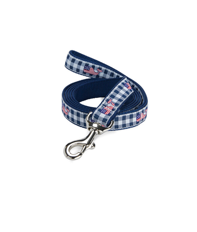 Gingham with Flag Whale Dog Leash