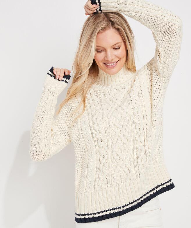 Tipped Island Fisherman Mockneck Sweater