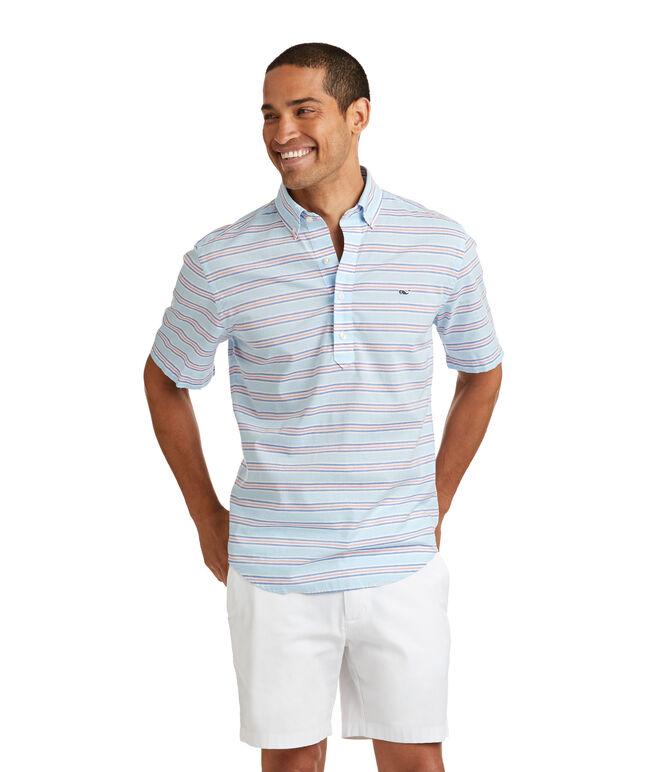 Short-Sleeve Steel Point Stripe Popover Shirt