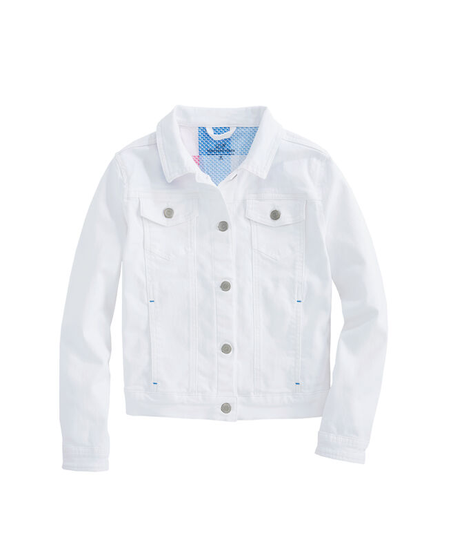 Girls Patchwork Contrast Denim Jacket