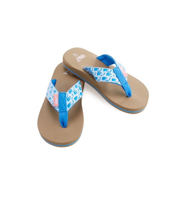 Girls Watercolor Whales Classic Flip Flops