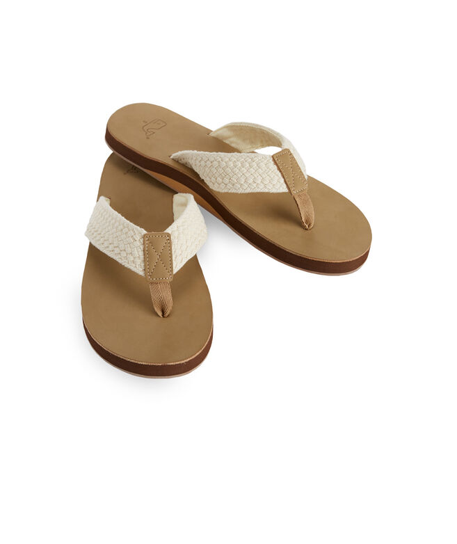 d3a9a695f9cd Leather Flip Flops with Washed Webbing