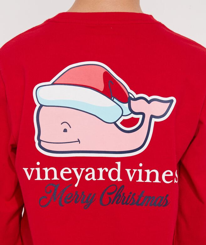 Boys Christmas Whale Long-Sleeve Pocket Tee