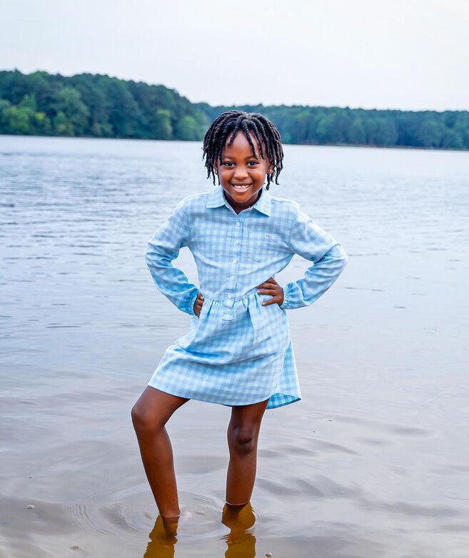 Girls' Bay Gingham Shirt Dress