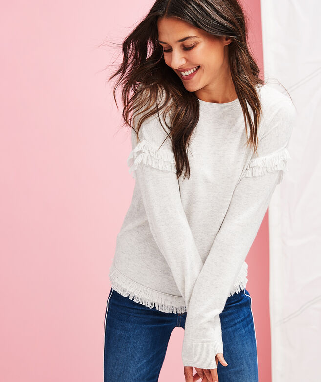 Drop Shoulder Fringe Textured Sweater