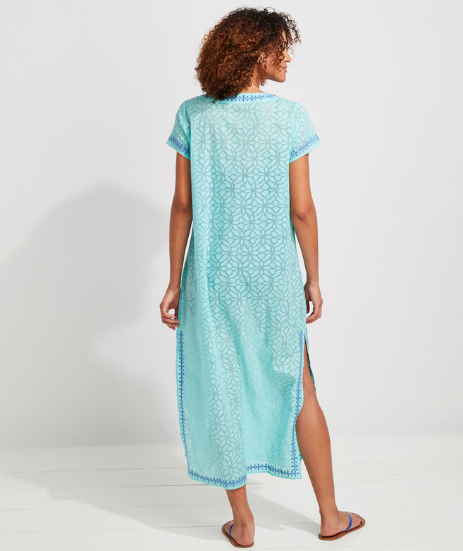 Day Lily Burnout Embroidered Cover-Up