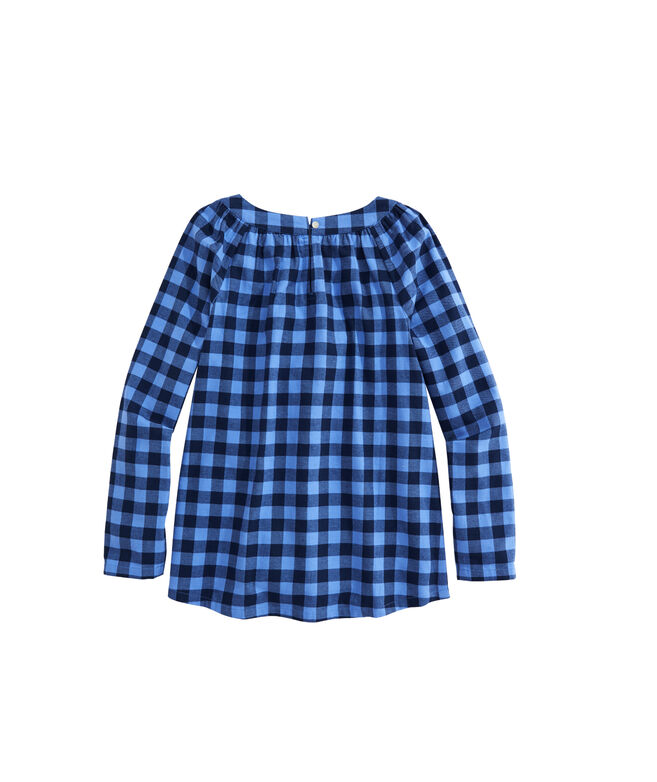 OUTLET Girls' Lighthouse Gingham Popover Top