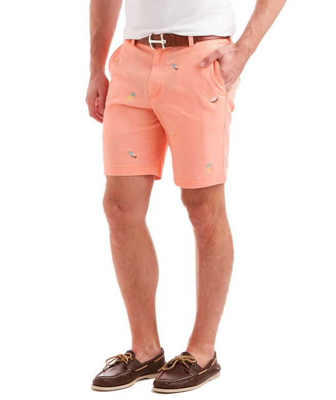 9 Inch Tropical Drink Embroidered Breaker Shorts
