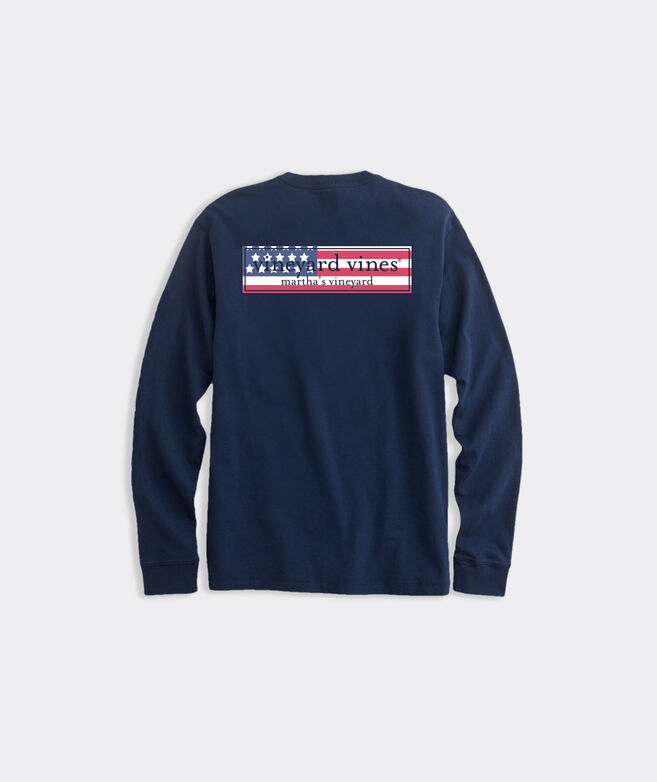 American Flag Logo Long-Sleeve Pocket Tee