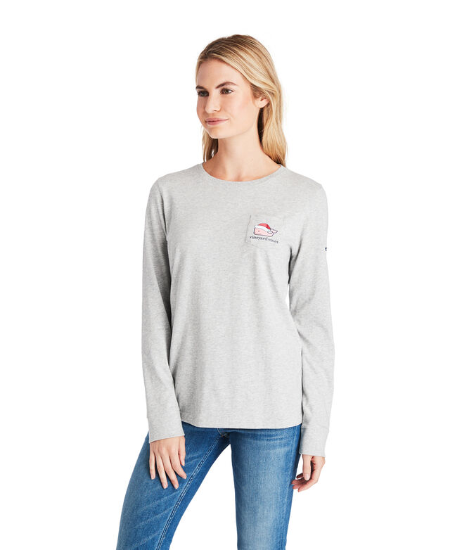 Long-Sleeve Santa Whale Pocket Tee