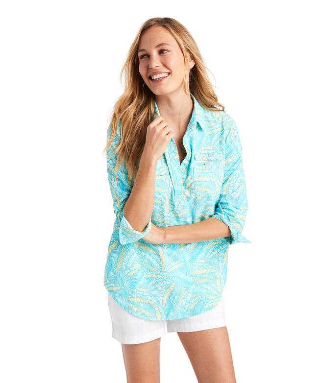 Island Palms Print Harbor Shirt Cover-Up