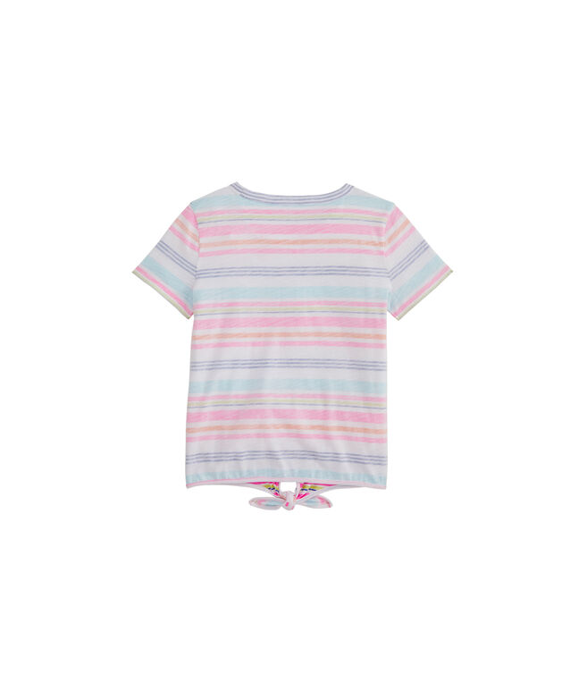 Girls' Seaspray Stripe Tie Short-Sleeve Tee