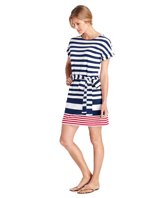 UPF Sea Striped Tie-Front Knit Dress