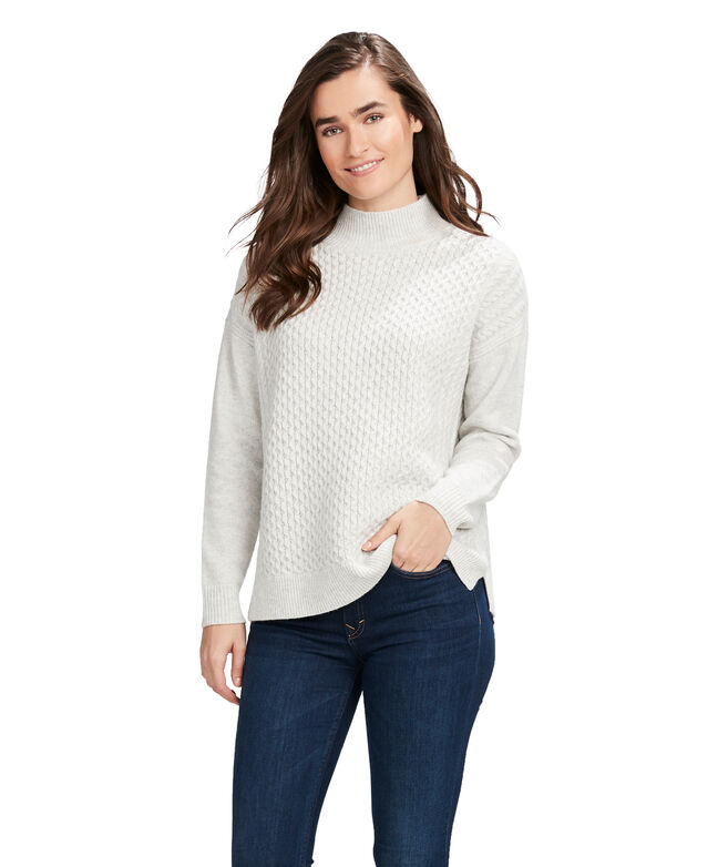 Aran Stitch Mock Neck Sweater