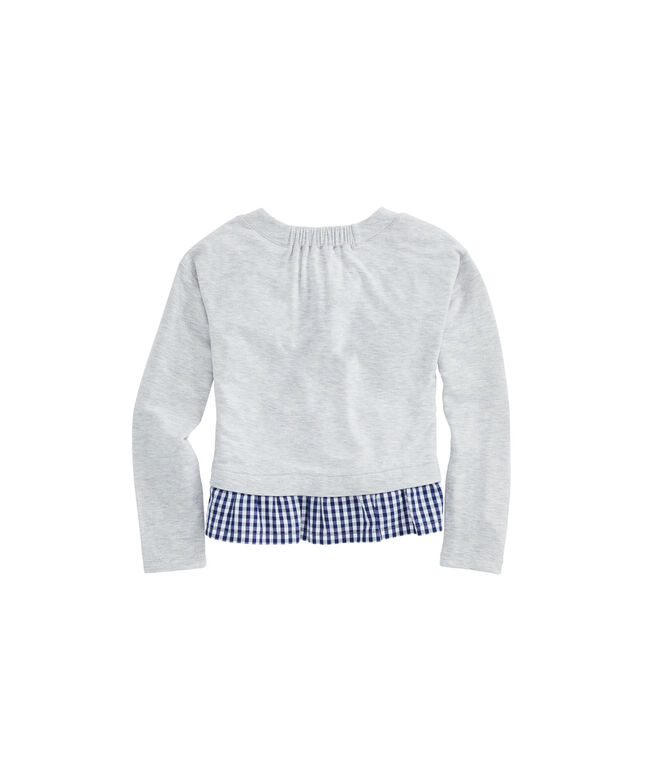 Girls Super-Soft Sweatshirt Mixed Media Top