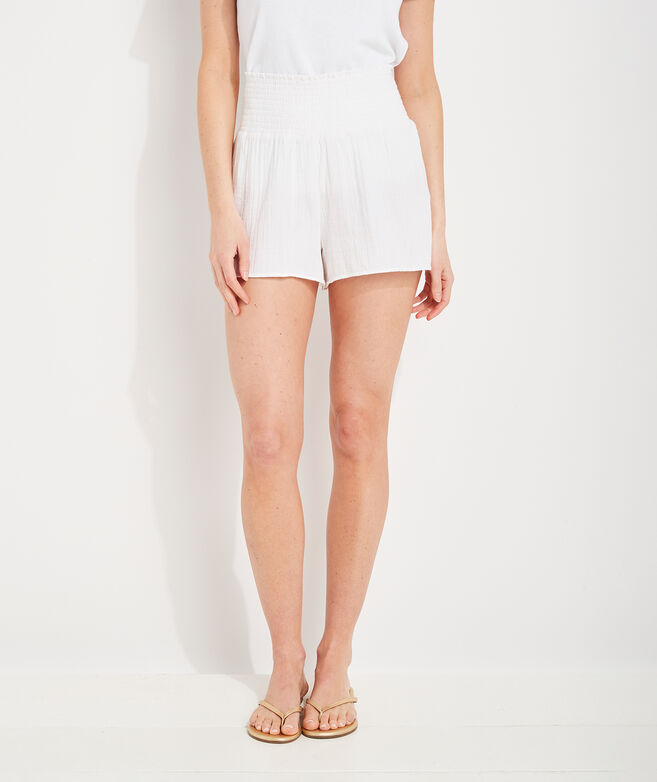 Beachy Gauzy Smocked Pull-On Shorts