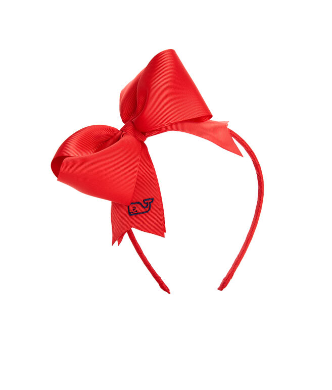 Girls Solid Grosgrain Bow Headband
