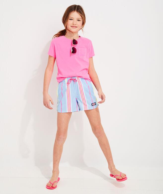 Girls' Garment Dyed Vintage Whale Short-Sleeve Pocket Tee