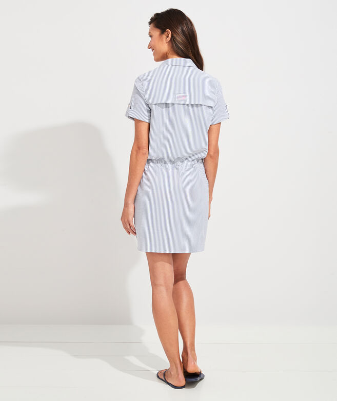 Vineyard Seersucker Harbor Shirt Dress Cover-Up