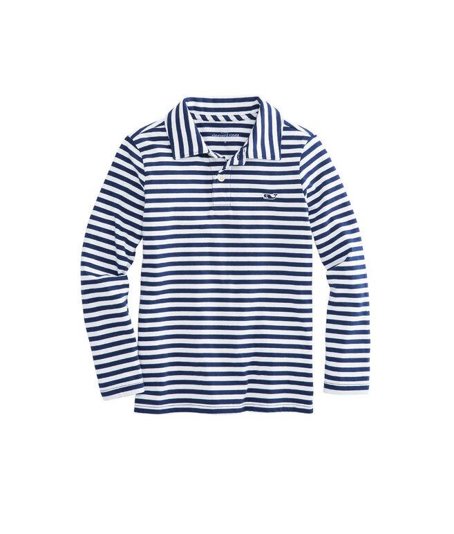 Boys Long-Sleeve Stripe Jersey Polo