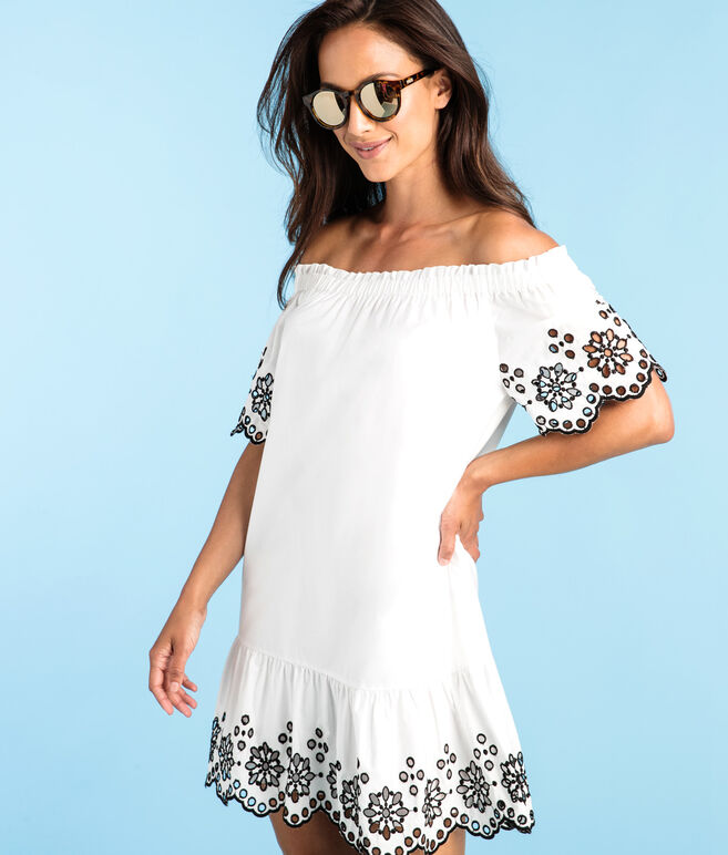Eyelet Off The Shoulder Dress