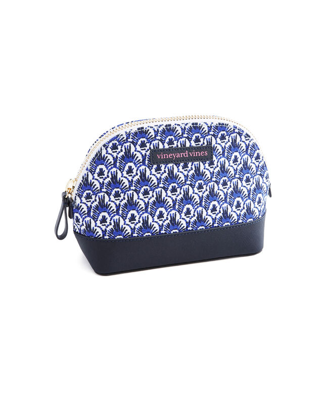 Scallop Feather Saffiano Large Cosmetic Case