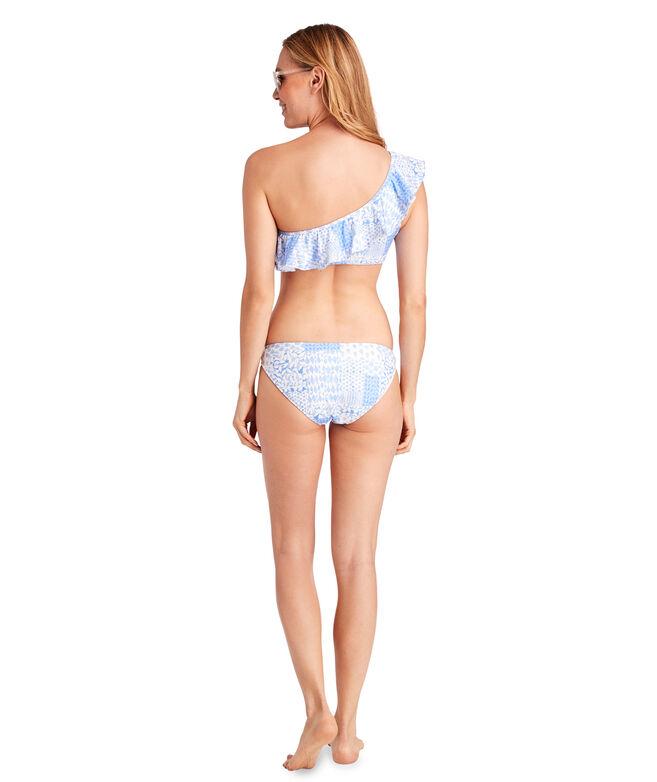 Painted Patchwork Ruffle One Shoulder Bikini Top