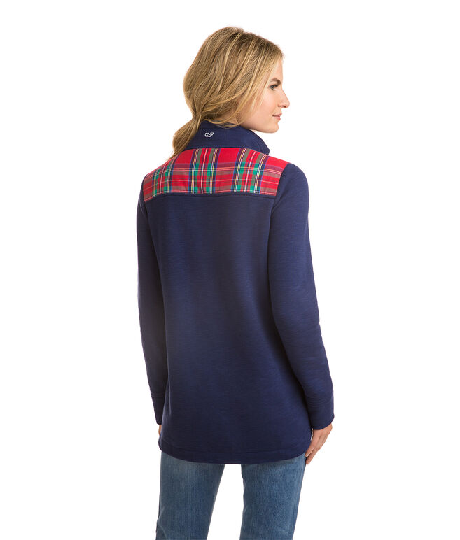 Jolly Plaid Heathered Relaxed Curved Hem Shep Shirt