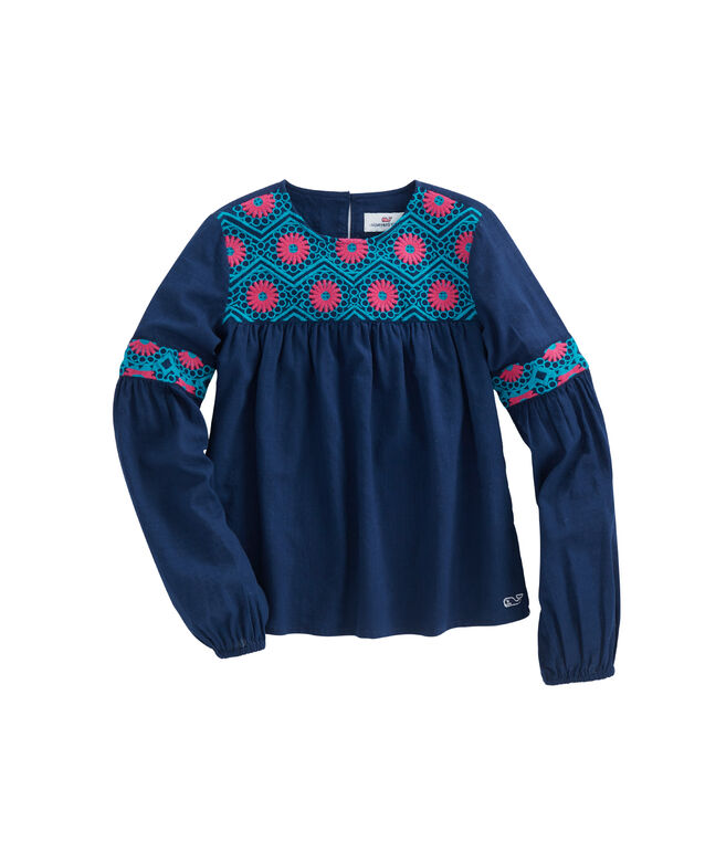 Girls Long-Sleeve Embroidered Tunic Top
