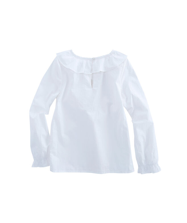 Girls Solid Ruffle Top