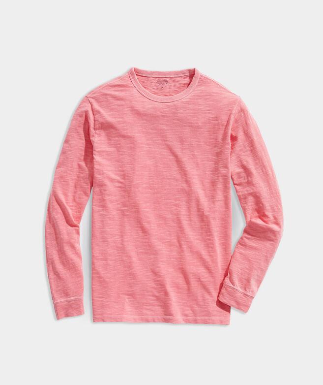 Garment-Dyed Slub Long-Sleeve Island Crewneck