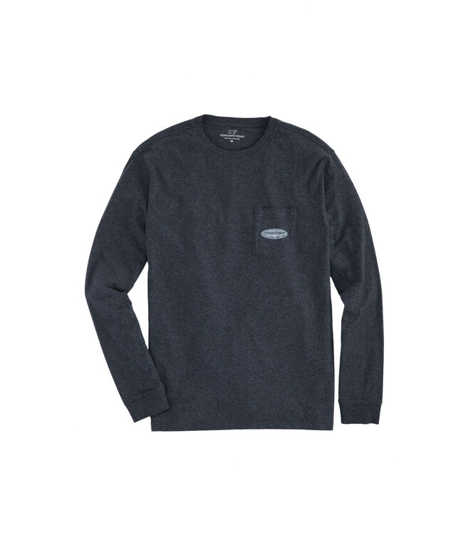 Big & Tall Long-Sleeve Surf Logo Pocket T-Shirt