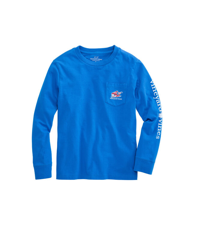 Boys Long-Sleeve Downhill Ski Whale Pocket T-Shirt