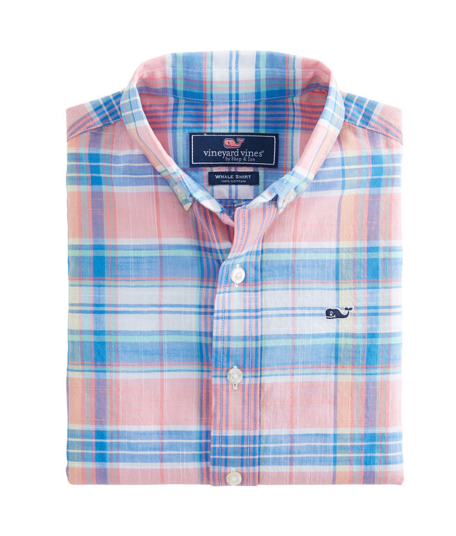 Boys Smith Point Plaid Beach Tartan Whale Shirt