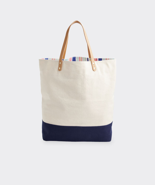 Boca Grande Stripe Pocket Canvas Tote