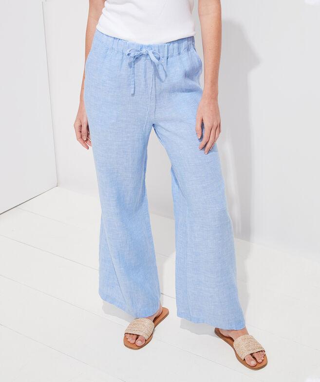 Wide-Leg Linen Pull-On Pants