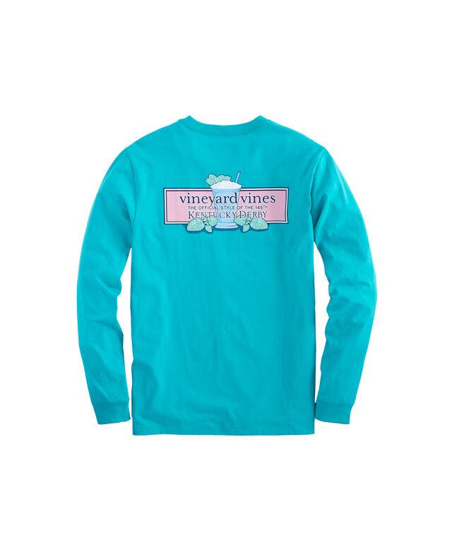 Long-Sleeve Kentucky Derby Mint Julep Logo Box Pocket T-Shirt