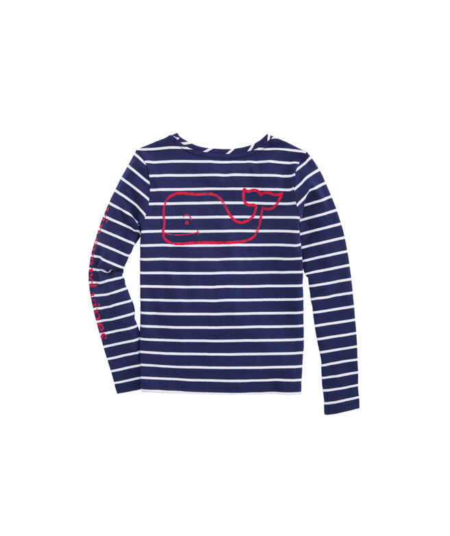 Girls Striped Vintage Whale Long-Sleeve Tee
