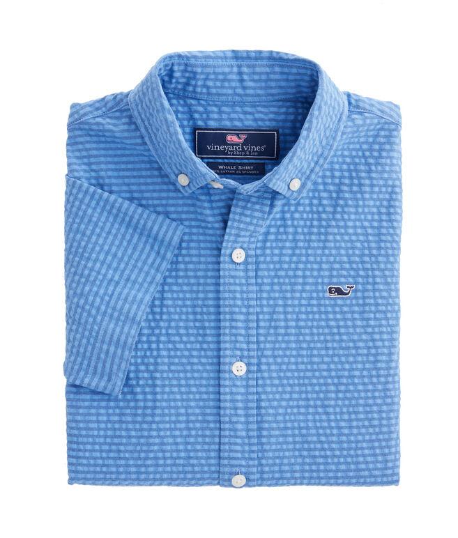Boys Seersucker Short-Sleeve Whale Shirt