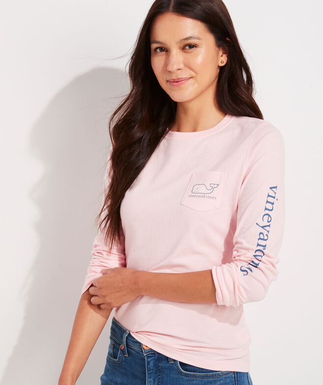 Women's 2020 Breast Cancer Awareness Whale Long-Sleeve Pocket Tee