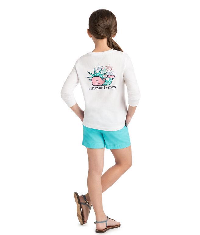 Girls Long-Sleeve Liberty Whale Pocket Tee