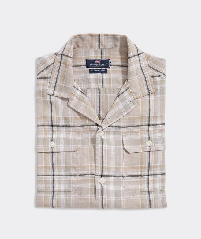 Linen Short-Sleeve Plaid Dockman Shirt