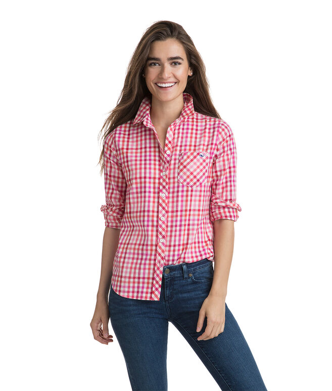 Cotton Cashmere Candy Cane Gingham Button Down