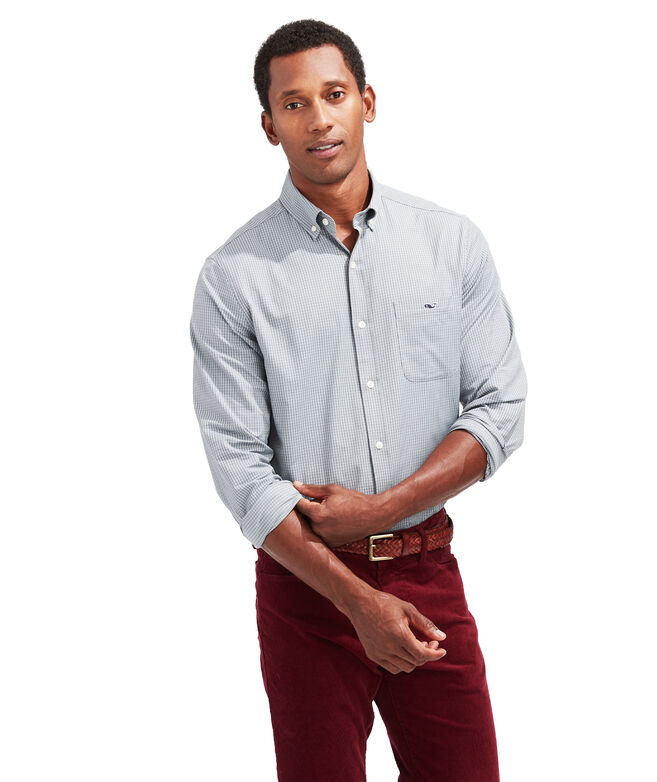 Classic Fit Russet Cotton Performance Tucker Button-Down Shirt