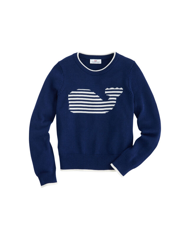 Girls Stripe Whale Instarsia Sweater