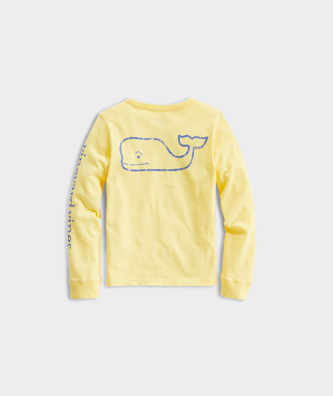 Girls Long-Sleeve Vintage Whale Pocket Tee