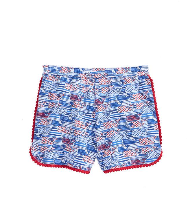 Girls Stars & Stripes Knit Pull On Shorts